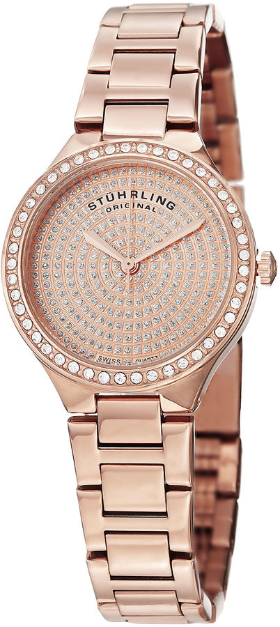 Stuhrling Original Womens Rose Goldtone Bracelet Watch-Sp14923