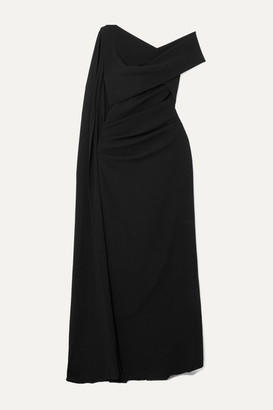 Talbot Runhof Rosedale One-shoulder Cape-effect Crepe Gown - Black