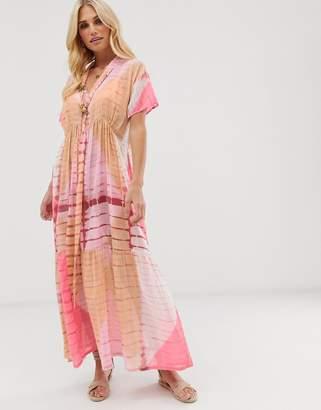 Aratta contrast tie dye maxi dress with tie waist-Orange