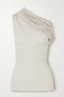 Rick Owens One-shoulder Ribbed Wool Top - Cream