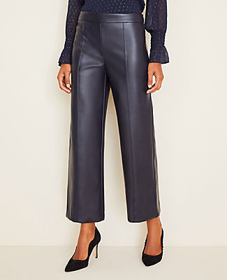 Ann Taylor Petite Faux Leather Wide Leg Crop Pants