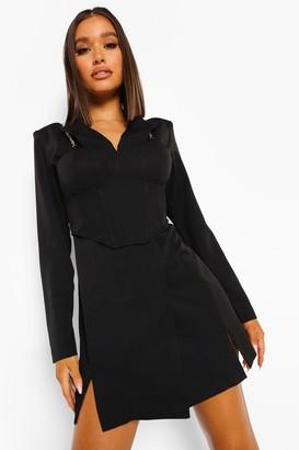 boohoo Corset Detail Chain Strap Blazer Dress