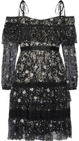 Needle & Thread Supernova Off-the-shoulder Ruffled Embellished Tulle Mini Dress - Black
