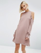 Asos Sweat Dress With Cold Shoulder