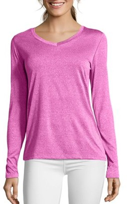 Hanes Sport Women's Cool DRI Performance Long-Sleeve V-Neck Tee