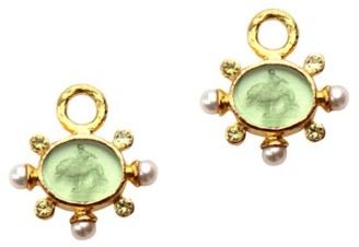 Elizabeth Locke Glass Intaglio Nile 'Tiny Lion' 19K Gold Earring Pendants