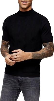 Topman Mock Neck Short Sleeve Sweater