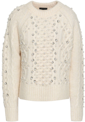Rag & Bone Jemima Embellished Cable-knit Merino Wool, Alpaca And Linen-blend Sweater