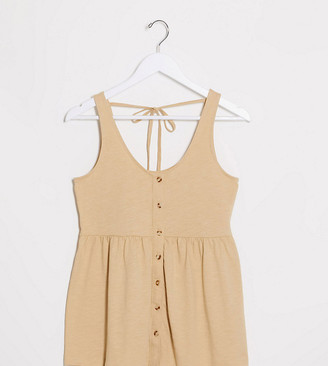 Mama Licious Mamalicious Maternity cami top with peplum and nursing feature in beige