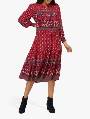 Monsoon Deanna Print Dress, Coral