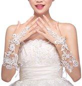 SK Studio Women's 2016 HandmadeLong Fingerless Lace Bridal Wedding Gloves