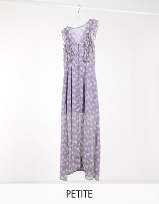 Brave Soul Petite indigo frill front maxi dress in lilac ditsy floral print