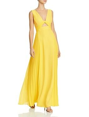 BCBGMAXAZRIA Pleated Cutout Gown