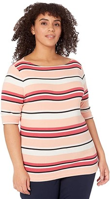 Lauren Ralph Lauren Plus Size Striped Cotton Blend Top (Marrakesh Sunset Multi) Women's T Shirt