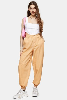 Topshop Womens Apricot Cuffed Utility Trousers - Apricot