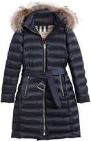 Burberry fur trim quilted coat