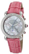 "JBW Women's JB-6210L-E ""Victory"" Pink Pearl Stainless Steel Pink Leather Diamond Watch"