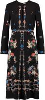 Vilshenko Floral-print silk-crepe midi dress