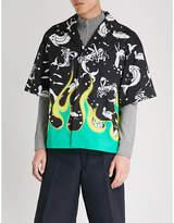 Prada Underwater flame-print regular-fit cotton shirt