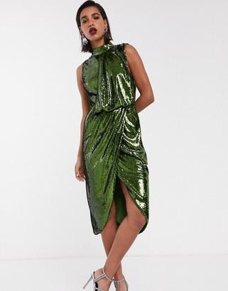 ASOS DESIGN sequin midi pencil midi dress with drape front
