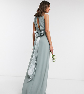 TFNC Tall bridesmaid cowl neck bow back maxi dress dress in sage