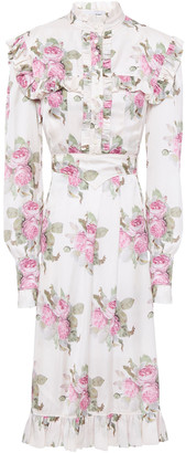 Paco Rabanne Ruffle-trimmed Floral-print Satin Dress