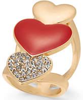 Thalia Sodi Gold-Tone Pavé Triple-Heart Ring, Created for Macy's