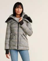 French Connection Khaki Plaid Faux Fur-Trimmed Puffer Coat