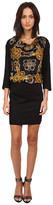 Versace 3/4 Sleeve Printed Drape Neck Dresss