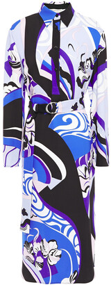 Emilio Pucci Belted Printed Stretch-jersey Midi Shirt Dress