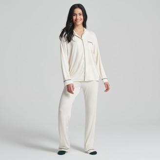 Naadam Women's Long Sleeve Tee-Pajama Pant Set Cream/Navy