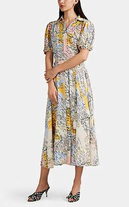 Derek Lam 10 Crosby Women's Map-Print Crepe Shirtdress