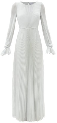 Luisa Beccaria Balloon-sleeve Plisse Crepe Gown - Silver