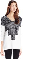BCBGeneration Women's Zig-Zag Intarsia V-Neck Pullover