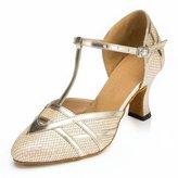 TDA Women's Chunky Heel T-strap Fashion Glitter Latin Dance Ballroom Tango Party Wedding Sandals