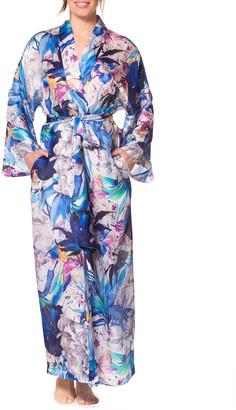 Christine Lingerie Paradise Floral Print Long Satin Robe