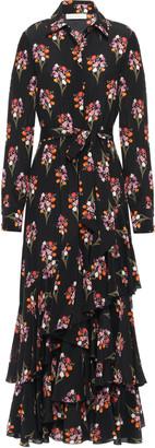 Borgo de Nor Aurora Tiered Floral-print Silk Crepe De Chine Maxi Dress