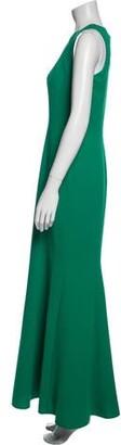 Carmen Marc Valvo Crew Neck Long Dress Green