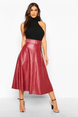 boohoo Leather Look Self Belt Skater Skirt