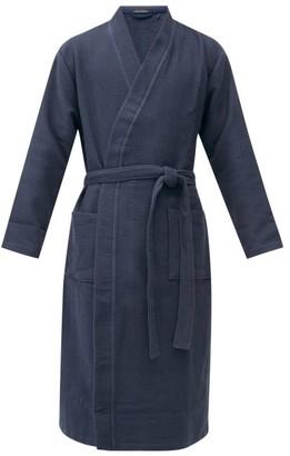 Schiesser Belted Cotton Waffle Robe - Mens - Blue