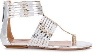 Aquazzura Ravello metallic strappy sandals