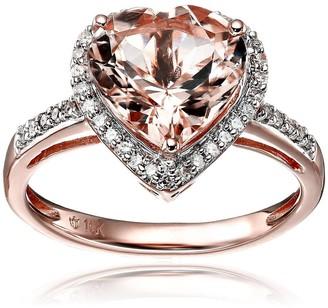 Pinctore 10k Rose Gold Morganite and Diamond Heart Halo Engagement Ring