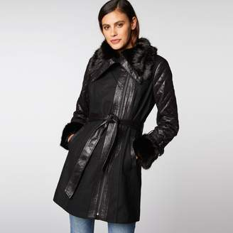 Morgan Wool Mix Coat with Faux Fur Collar and Cuffs