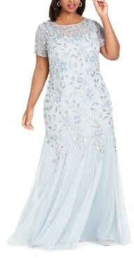 Adrianna Papell Size Floral-Beaded Gown