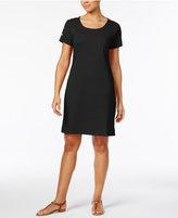 Karen Scott Cotton Button-Shoulder T-Shirt Dress, Only at Macy's