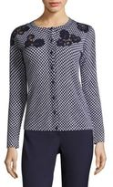 Escada Lace-Detail Houndstooth Virgin Wool Cardigan