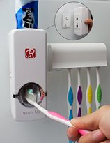 RC Press to Paste Toothpaste Dispenser Automatic Toothpaste Squeezer and Toothbrush Holder Set (5 Brush Holder, White)