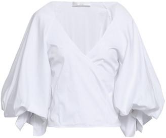 Caroline Constas Wrap-effect Stretch-cotton Poplin Top