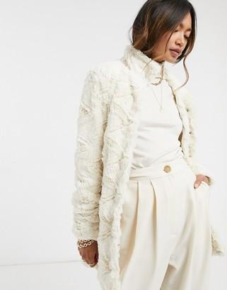 Vero Moda textured faux fur jacket in cream