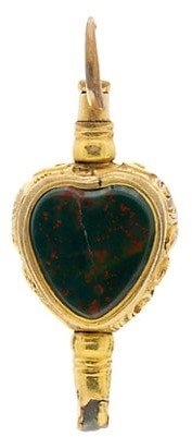 Stephanie Windsor Early Victorian 15K Yellow Rock Crystal & Bloodstone Heart-Shaped Key Charm